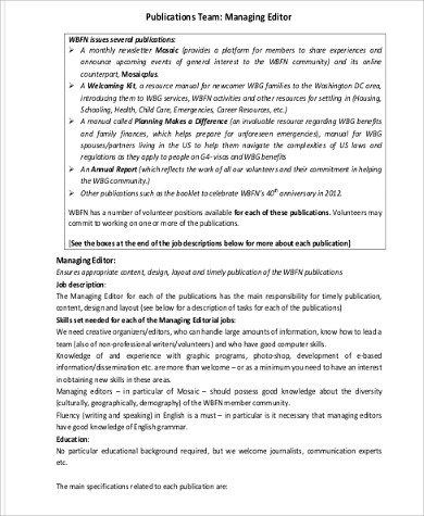 managing editor job description pdf