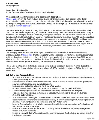 Managing Editor Job Description Sample   Examples In Word Pdf