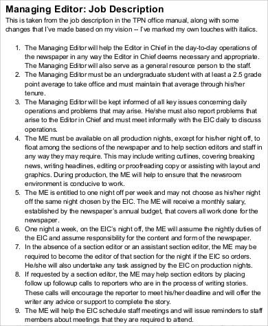 Managing Editor Job Description Sample - 8+ Examples In Word, Pdf
