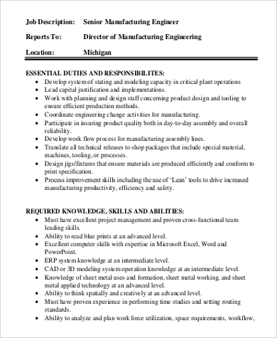 sample senior manufacturing engineer job description. Resume Example. Resume CV Cover Letter