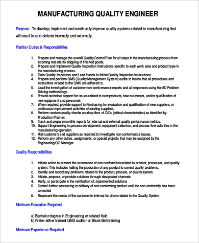 Manufacturing Engineer Job Description Sample   Examples In Word Pdf