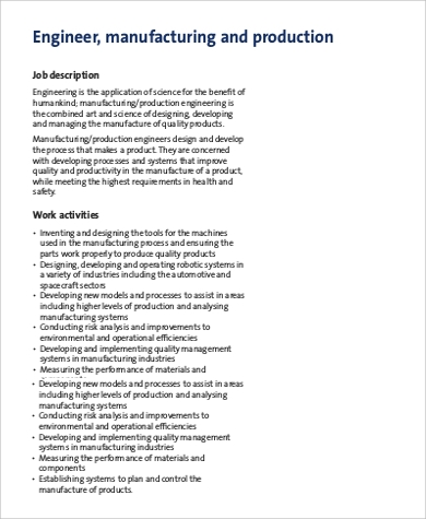 sample manufacturing production engineer job description. Resume Example. Resume CV Cover Letter
