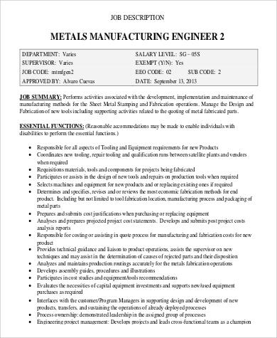 metal manufacturing engineer job description example