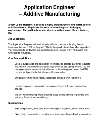 Manufacturing Applications Engineer Job Description