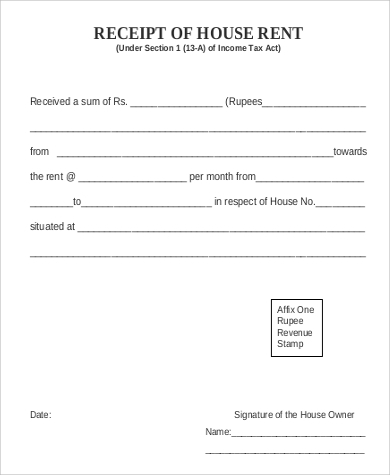 sample house rent receipt format