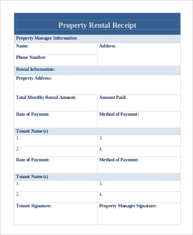 property rental receipt format