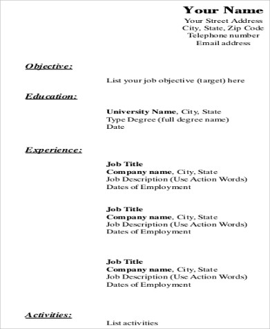 Free 8 Resume Format Samples In Pdf
