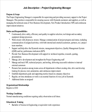 Project Engineer Job Description Sample   Examples In Word Pdf