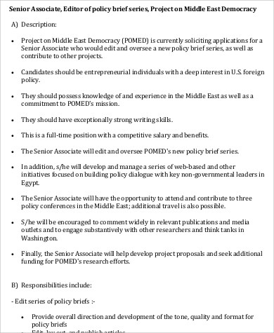 sample senior associate editor job description