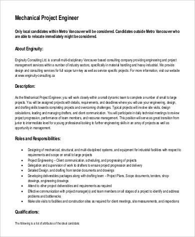 9 Project Engineer Job Description Samples Sample Templates