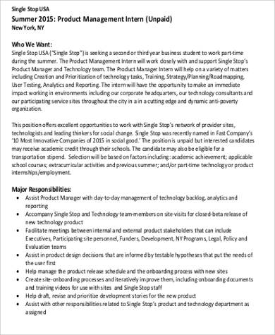 Summer Intern Job Description Sample   Examples In Word Pdf