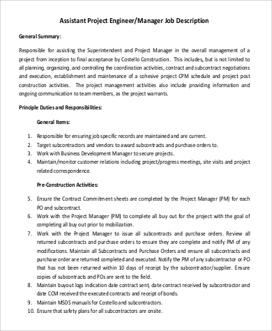 Basic Assistant Project Engineer Job Description