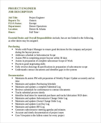 project engineer job description duties