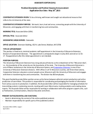 associate editor position description pdf. Resume Example. Resume CV Cover Letter