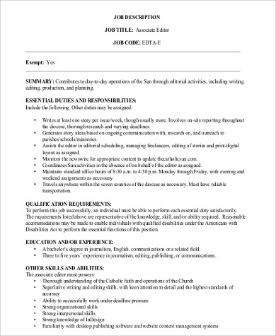 Associate Editor Job Description Sample   Examples In Word Pdf