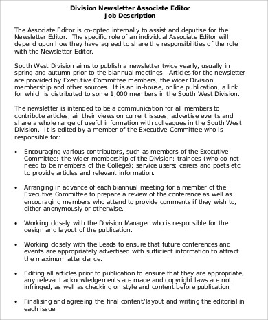 newsletter associate editor job description