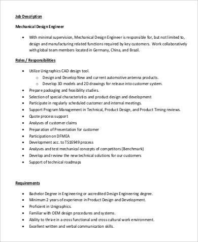 Delicieux Mechanical Design Engineer Job Description
