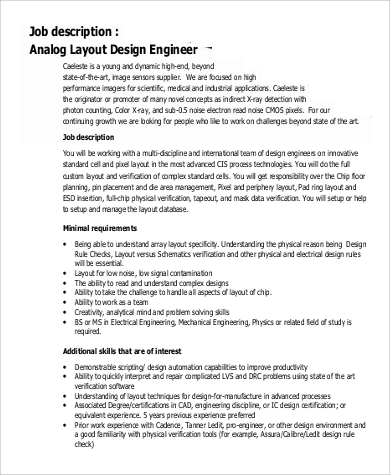 Design Engineer Job Description Sample   Examples In Pdf