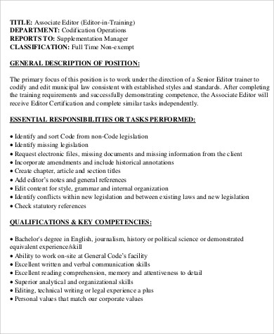 full time associate editor job description