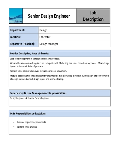 Design Engineer Job Description Sample 9 Examples In Pdf