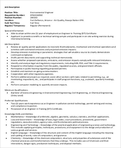 Environmental Engineer Job Description Sample - 6+ Examples in Word, PDF