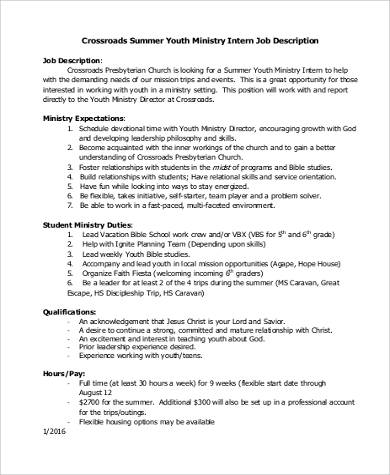 YOUTH MINISTRY INTERN Job Description U2013 U2026