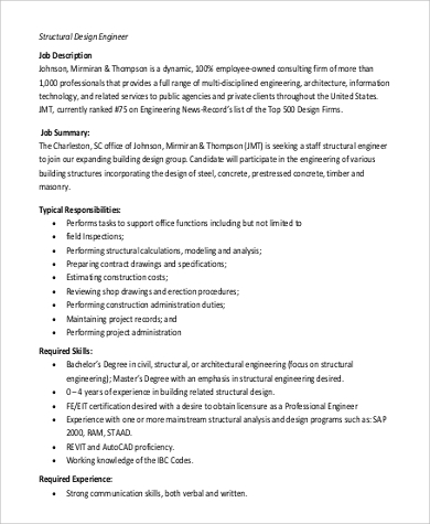 Design Engineer Job Description Sample   Examples In
