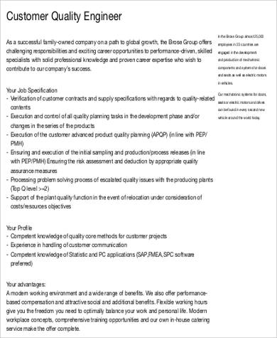 Quality Engineer Job Description - 9+ Examples in Word, PDF