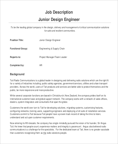 Design Engineer Job Description Design Engineer Job Description
