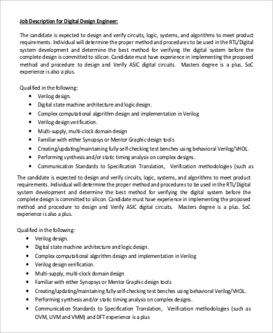 Digital Design Engineer Job Description