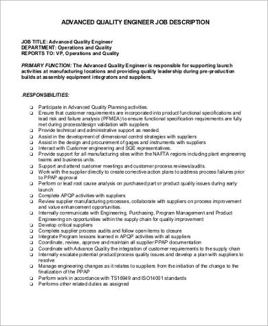 Quality Engineer Job Description   Examples In Word Pdf
