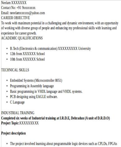 resume standard format22