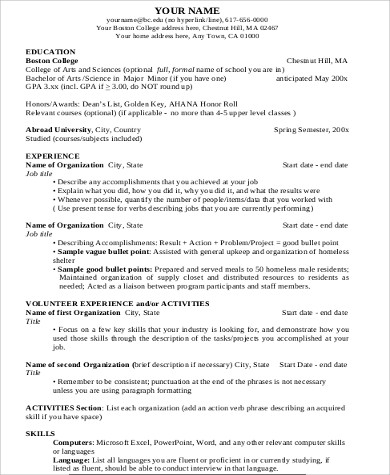 college resume format example