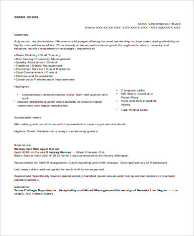 6 sample restaurant server resumes sample templates for Resume templates for restaurant managers