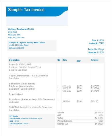 printable tax invoice example
