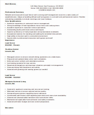 Sample Restaurant Server Resume  6 Examples in Word  PDF