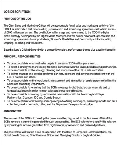 Beautiful Chief Sales And Marketing Officer Job Description PDF