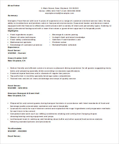 restaurant food server resume sample