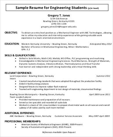 sample engineering student resume