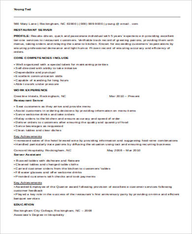 Sample Restaurant Server Resume   Examples In Word Pdf