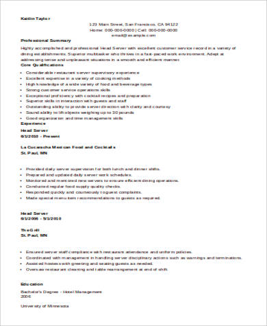 Sample Restaurant Server Resume