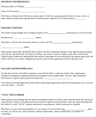 Car Sale Contract Sample   Examples In Word Pdf