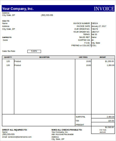printable excel invoice sample