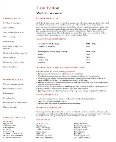 student welder resume