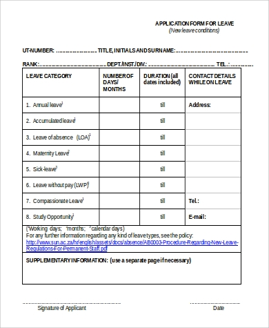 leave application form in word