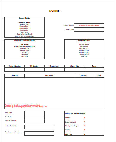 editable excel invoice sample
