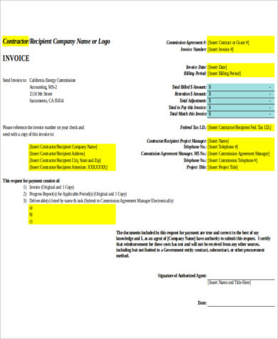 contractor excel invoice sample