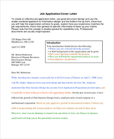 application cover letter format
