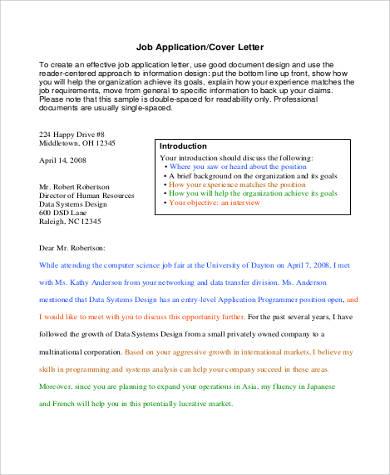 application cover letter format