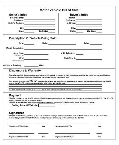 automotive bill of sale form free